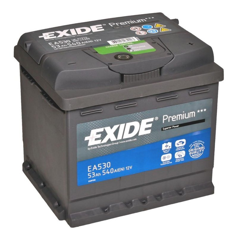 Аккумулятор EXIDE PREMIUM 12V 53AH 540A ETN 0(R+) B13 207x175x190mm 13.38kg