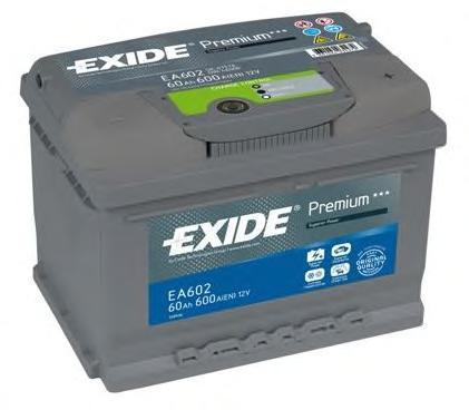 Аккумуляторная батарея 61Ah EXIDE PREMIUM CARBON BOOST 12V 61AH 600A ETN 0(R+) B13 242x175x175mm 14.8kg
